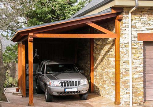 Tarima exterior madrid pergolas madera madrid porches for Cubiertas para garajes